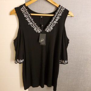 Adrianna Papell Embroidered Top Large Black NWT